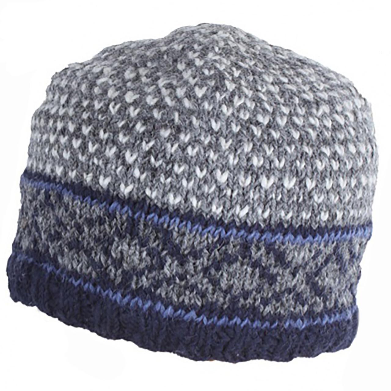 5b1f42482fe Pachamama Hand Knitted 100% Wool Tromso Beanie Hat - Navy. Price  £15.95.  Image 1