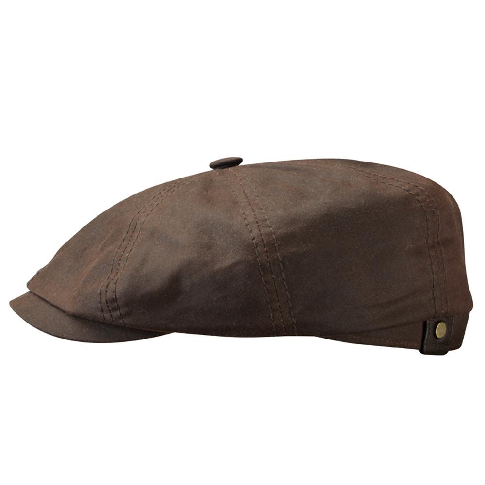 0466f5ea10a60a ORIGINAL Stetson Dark Brown Hatteras Waxed Cotton Newsboy Cap | 100 ...