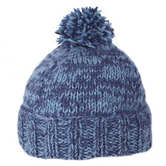 Pachamama Finnistere Navy Hand Knitted in Nepal Himalayan Winter Bobble Beanie