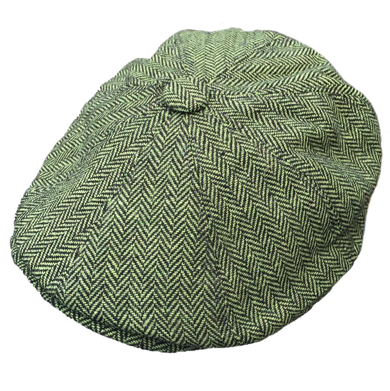 G & H Green Herringbone Newsboy Cap