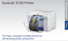 "EPSON SureLab D700 SLD700SE (SLD700SE) is a fast, compact professional drylab printer offering archival 6-color UltraChrome D6-S Inks and outstanding print speeds — produce up to 430 4"" x 6"" prints per hour"