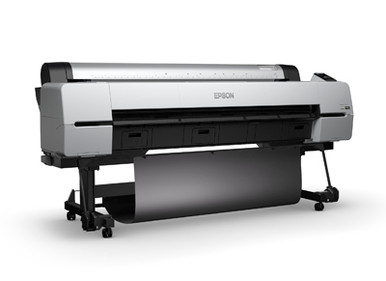 Image of the SureColor P20000 SCP20000SE printing left angle with the included printer stand and print catch