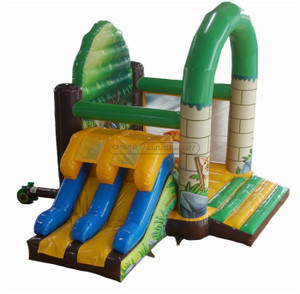 Jungle Themed Inflatable Combo / Jungle Slide With Bouncer