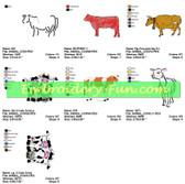 COWS ANIMALS EMBROIDERY DESIGNS COLLECTION
