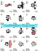 FELIX THE CAT EMBROIDERY MACHINE DESIGNS