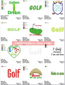 GOLF SAYINGS EMBROIDERY MACHINE DESIGNS