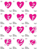 HEART FONTS ALPHABETS NUMBERS EMBROIDERY DESIGNS