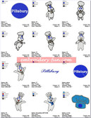 PILLSBURY DOUGHBOY EMBROIDERY 34 DESIGNS