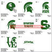 Set of 20 Michigan State Spartans football Team Sports Logo Embroidery Designs