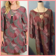 Plus Size Burgundy Grey Print Dress