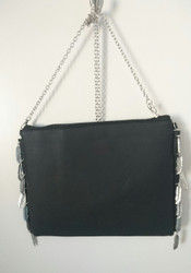 Black Purse Silver Feather Tassels
