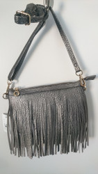 Pewter Fringe Mini Messenger Bag