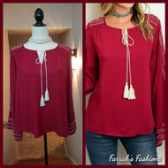Wine Embroidered Top
