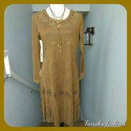 Brown Stud Fringe Dress