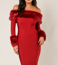 Wow Couture Red Faux Fur Bandage