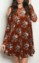 Earth Floral Velvet Dress