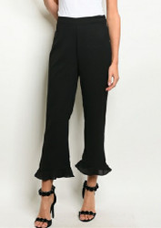 Fitted Waist Ruffled Hem Flare Pants
