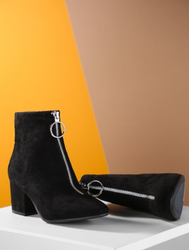 Black Suede Zipper Loop Boots