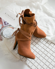 Brown Suede Cross Strap Boots