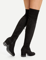 Studded Detail Suede Thigh High Boot