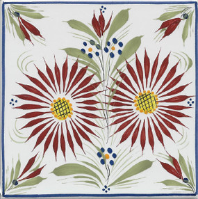 Quimper Mistral Blue Tile - Flower