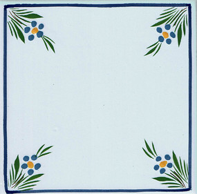 Flowers in Corners - Jardin d'ete Tile - Quimper