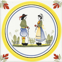 Couple - Henriot w/ Yellow Circle Tile Quimper