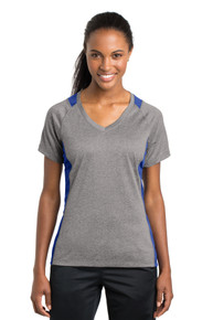 Tee Ladies Heather Colorblock Contender V-Neck