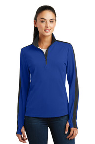 Pullover ladies Sport-Wick Textured Colorblock 1/4 Zip