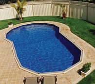 Keyhole Shape Pool Liner for Sterns 8.8m x 4.8m x 3.76m Pool, Australian Made