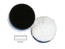 "Features: Less matting down Moderate to Heavy defect removal Good finishing Durability Increased rotation on contoured surfaces Primary Target: Heavy Polishing Specifications:  Polishing face material: Microfiber Interlayer: Foam Diameter: 1 3/8"" Thickness: 7/16"" Microfiber Color: White Foam Color: Blue Velcro Color: Black   Made in the USA"
