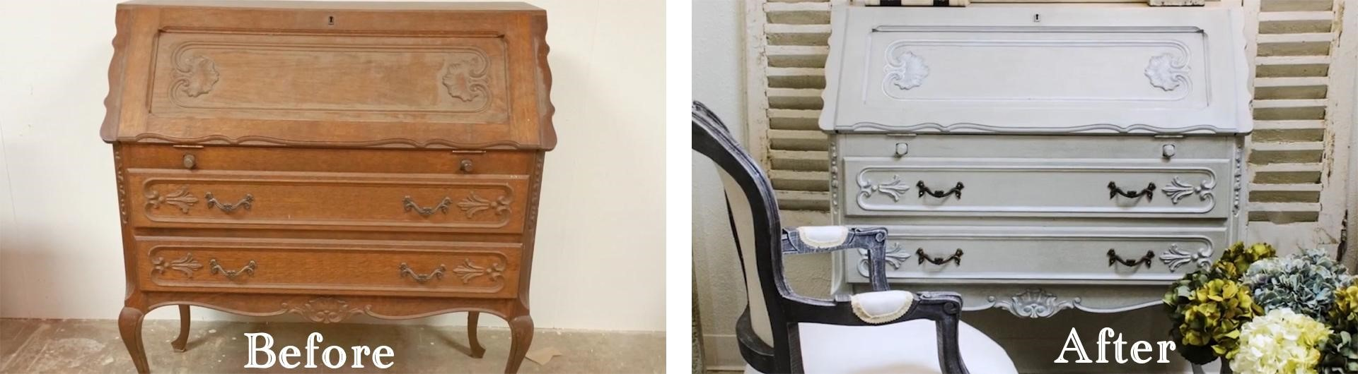 Amitha Verma French Gray Chalk Finish Paint makeover before and after on an antique secretary desk in Village Antiques showroom.