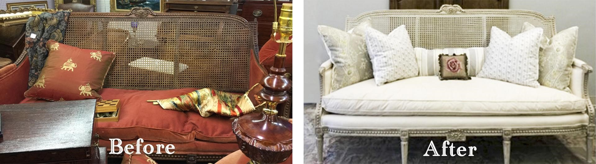 Amitha Verma Chalk Finish Paint in Belgian Blue before and after makeover on an antique cane-back sofa.