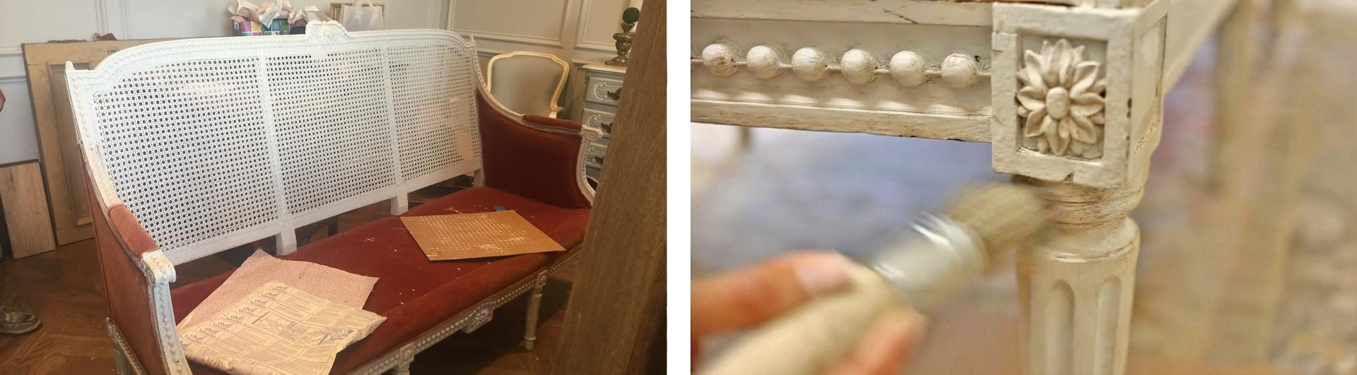 A closeup of the finishing touches on the cane-back sofa makeover project from Amitha's antiquing trip.