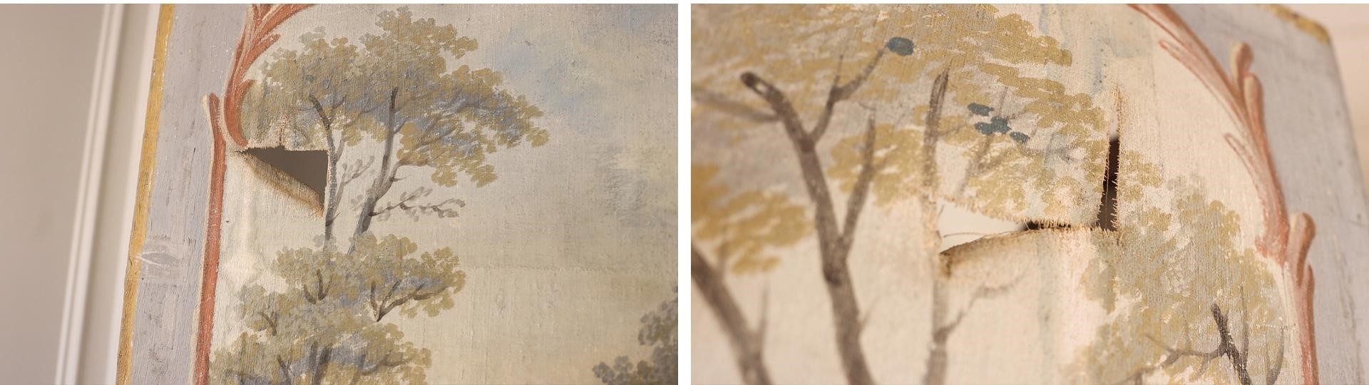 Don't let small tears and imperfections of antique decor and furniture stop you from purchasing. This Chinoiserie screen isn't perfect, but these imperfections add to the charm of the piece.
