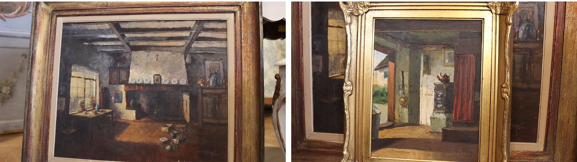 I picked up two dark, earthy home scene antique decor oil paintings from the Round Top Antique show.