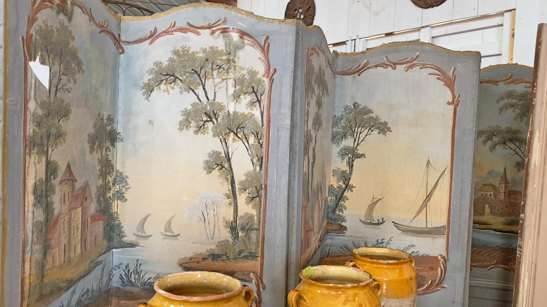 dusty blue antique chinoiserie screen is a hidden gem in antique shopping