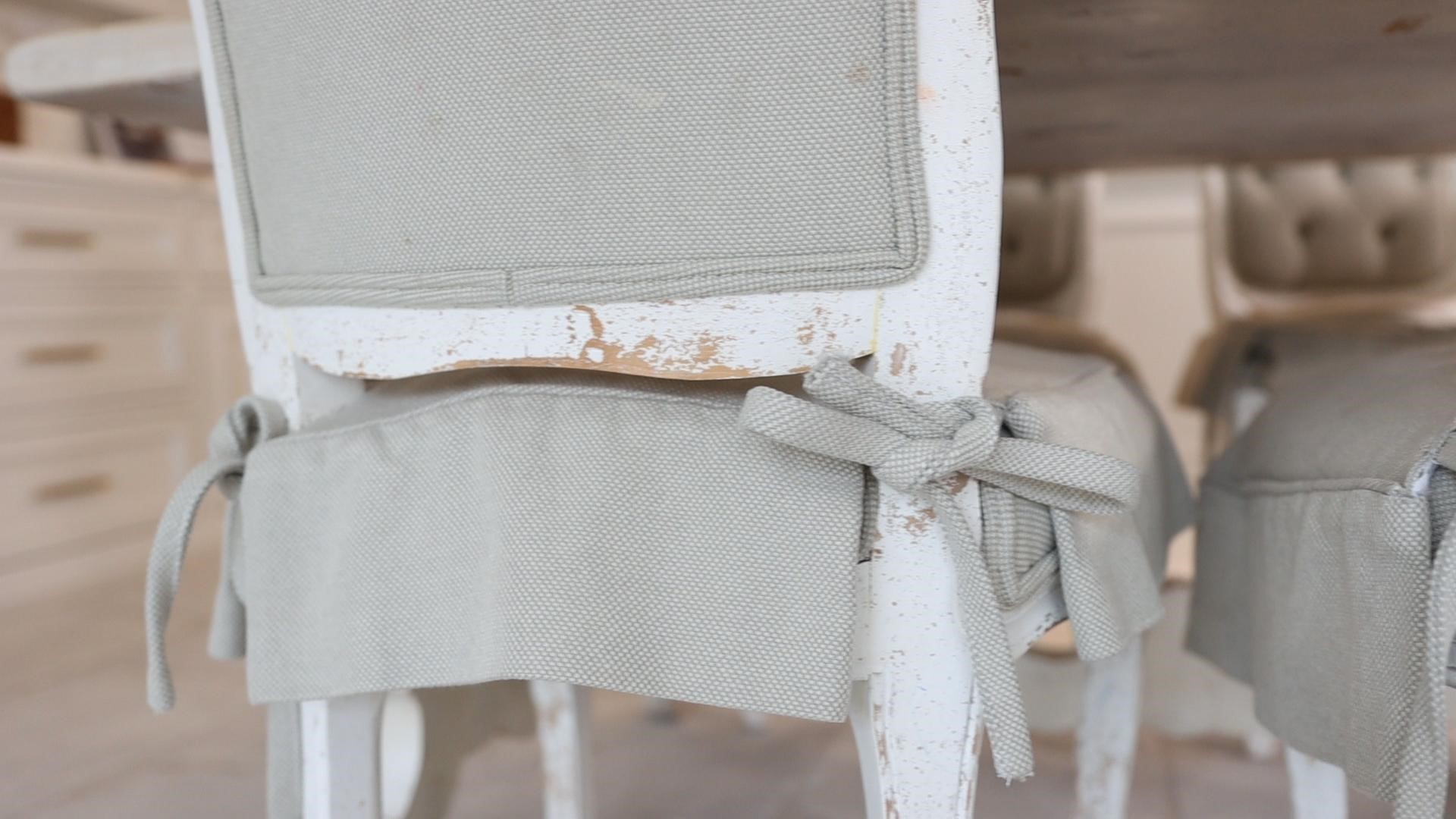 A close-up view of the DIY washable chair skirts