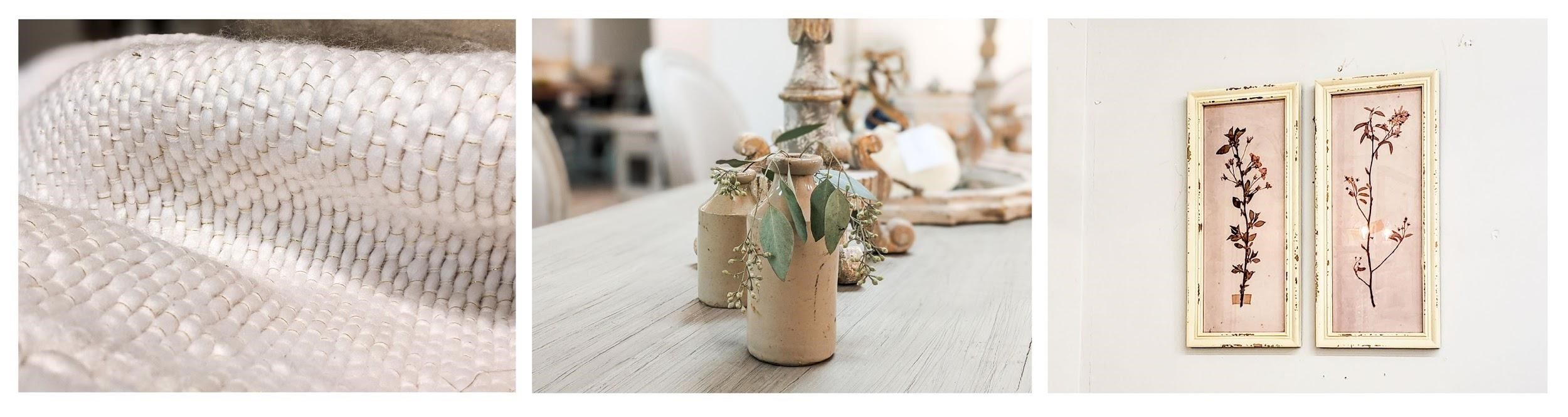 A collage of French country cottage style home decor including cozy white throw blankets, dried eucalyptus in ceramic vases, and pressed leaves flower artwork called herbiers.