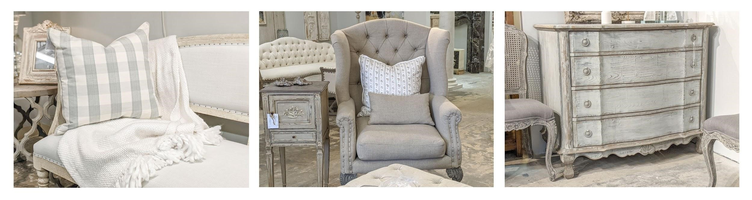 A collage of French cottage style home decor including gingham check fabric pillows, a cozy tufted chair, and a chalk finish paint chest of drawers or commode.
