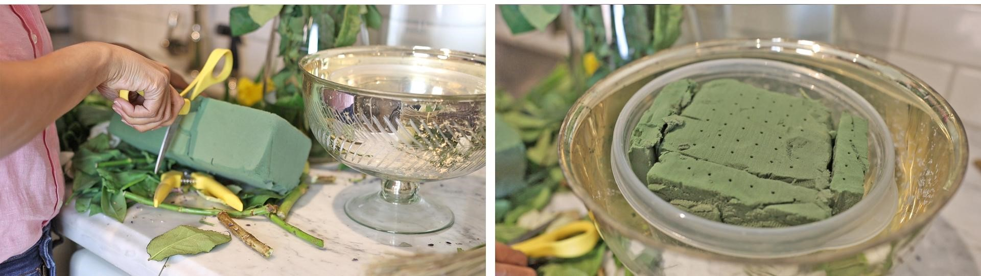 Cut your floral foam to size, soak in water, and place in a food container before placing it in your decorative bowl