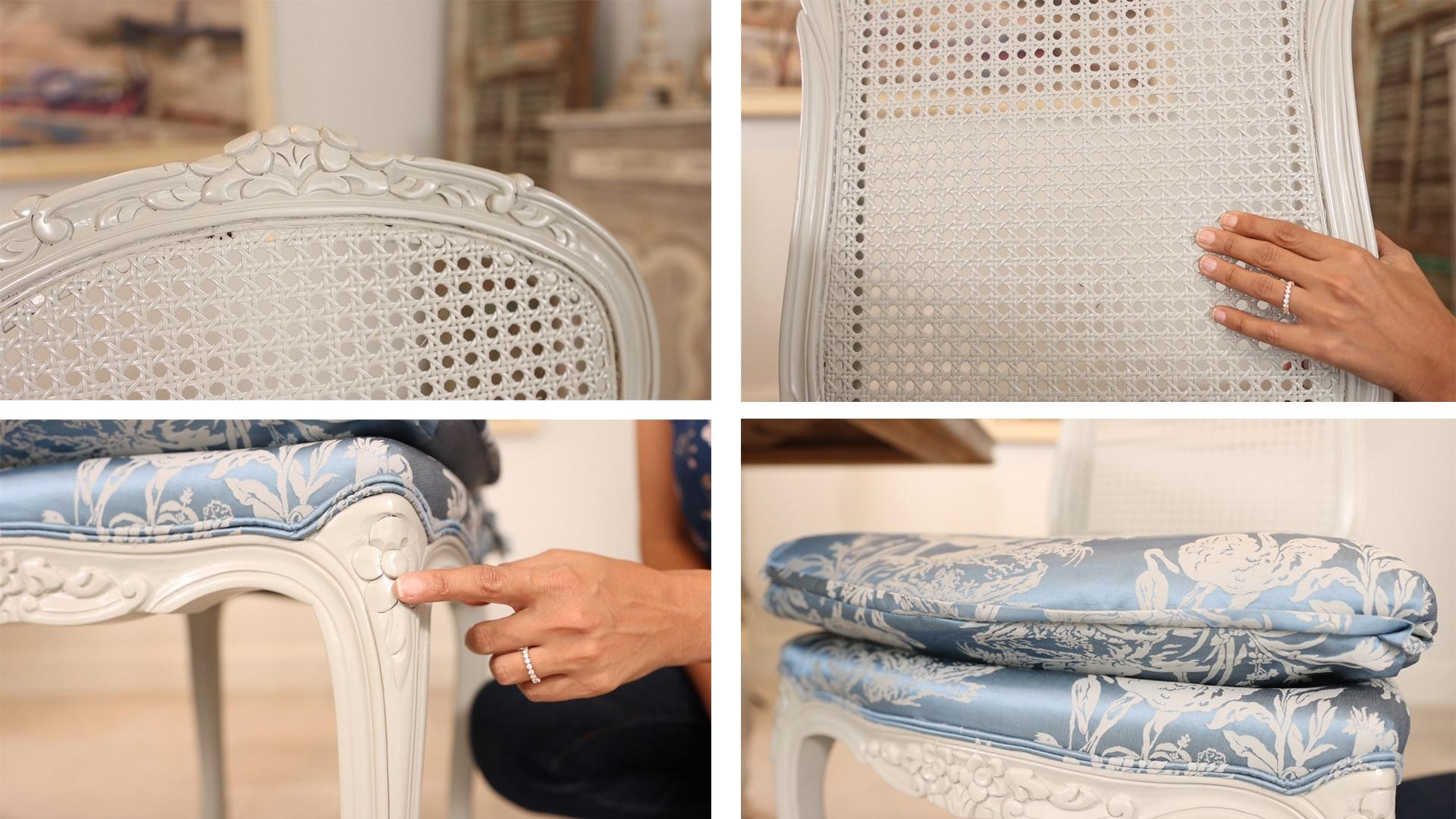 Modern French country style formal dining chair details blue and white