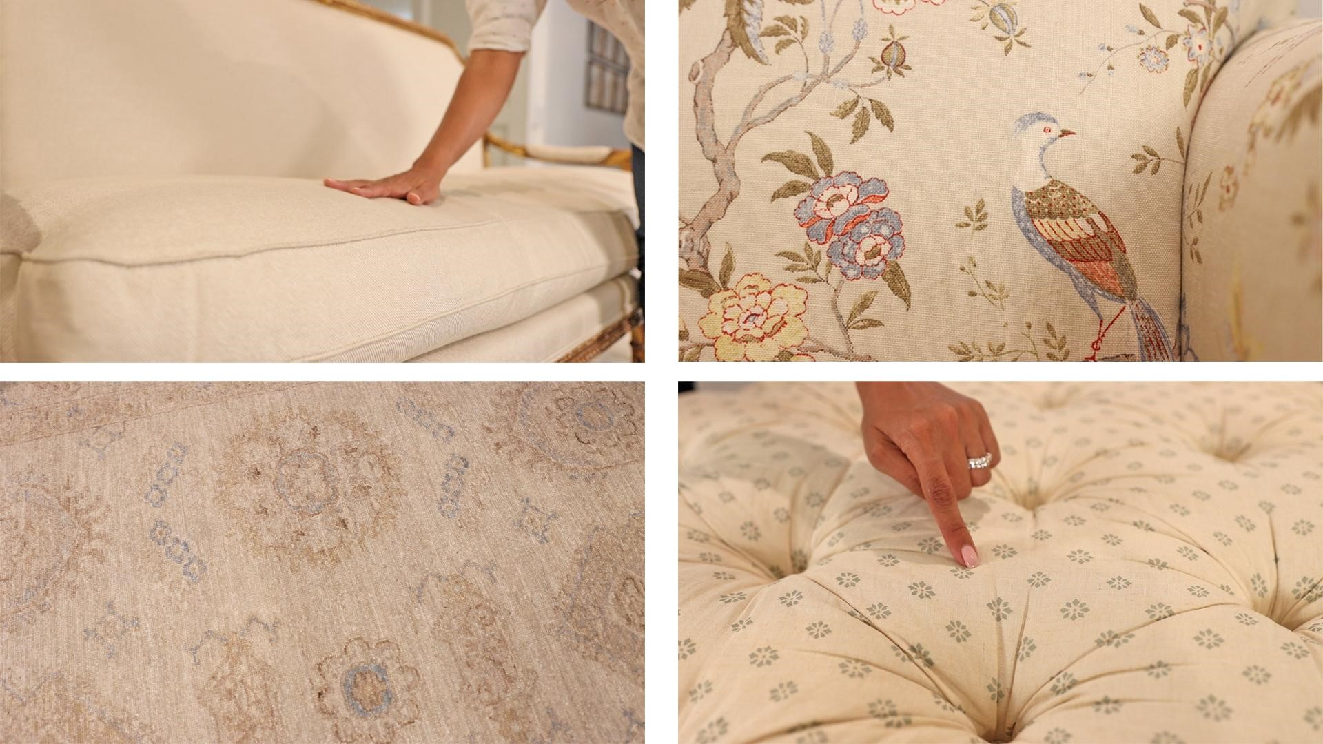 Solid pattern, all-over pattern, geometric pattern, and small print on the French country furniture of Amitha's living room