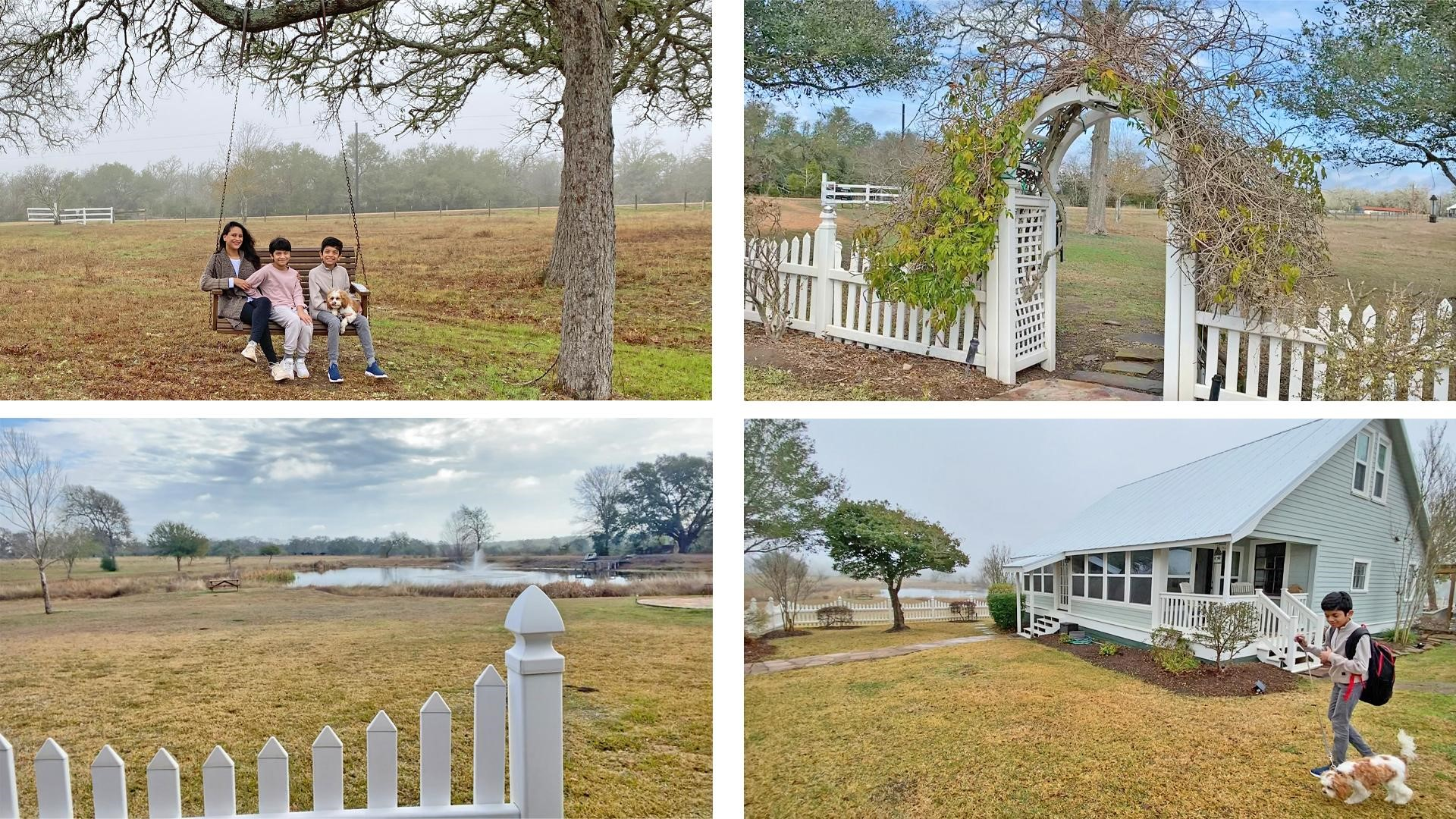 Amitha, her sons, and dog touring the grounds of their rented farmhouse Airbnb
