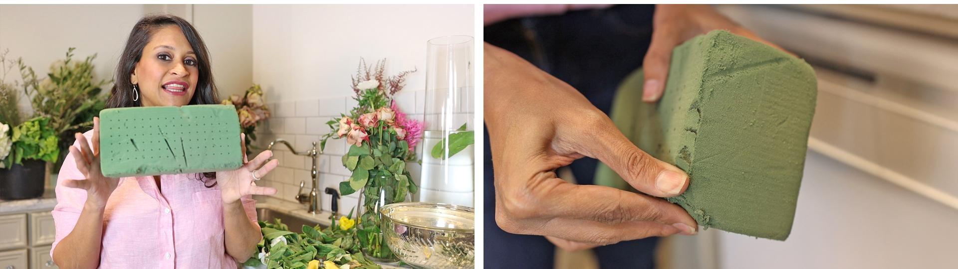 Amitha holds floral foam as the secret weapon for bowl flower arrangements