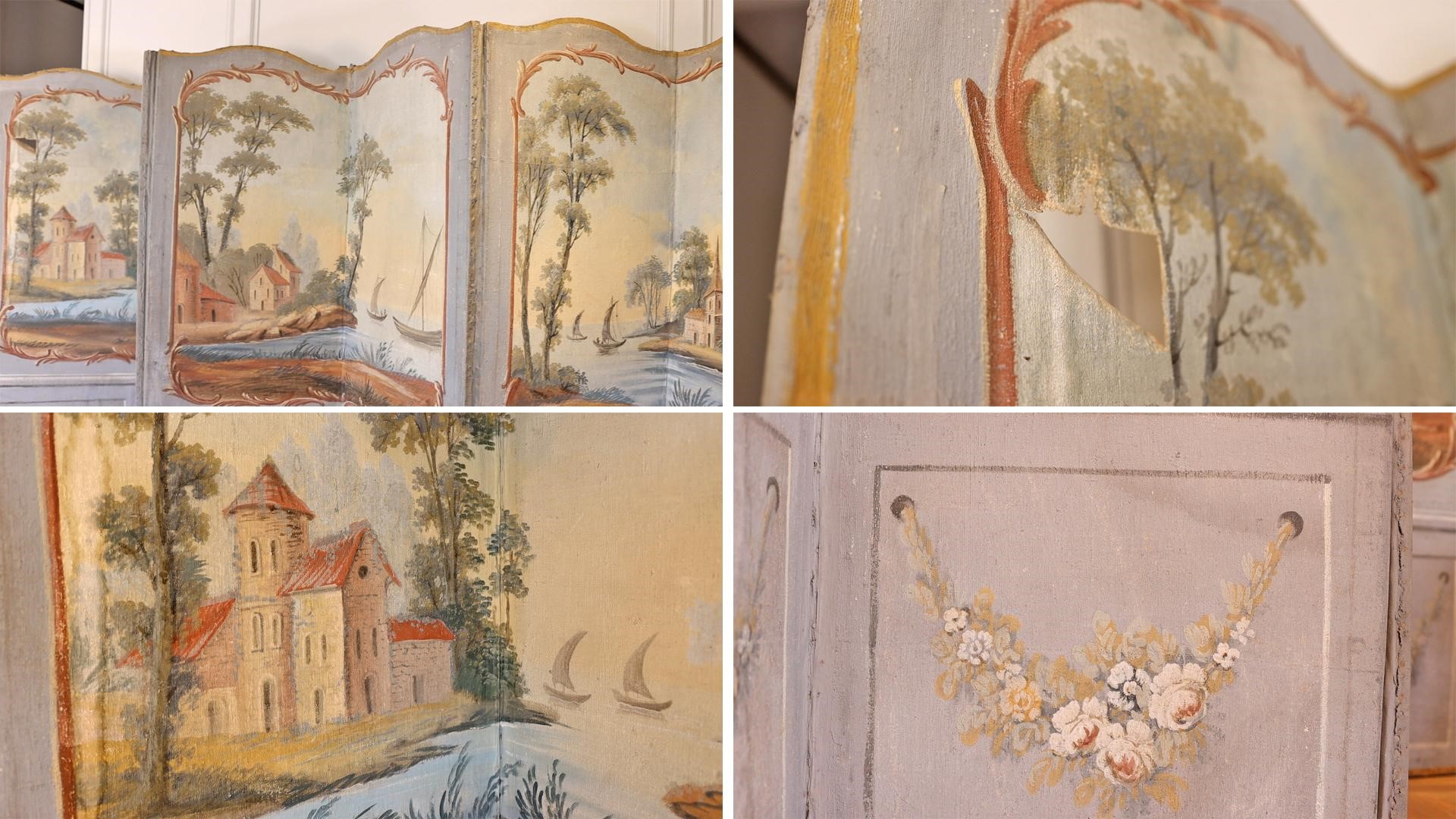 A closer look at the details of the antique decor accordion Chinoiserie screen.