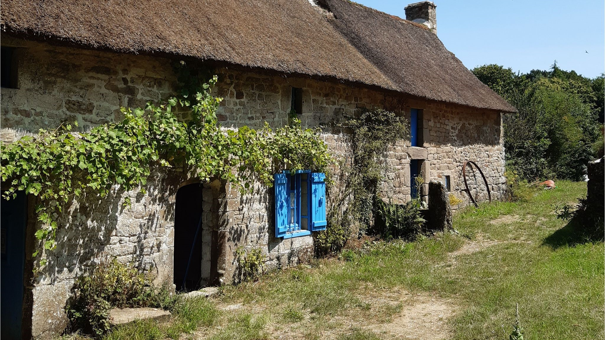 The countryside of Brittany with a French cottage stone front farmhouse with blue shutters.