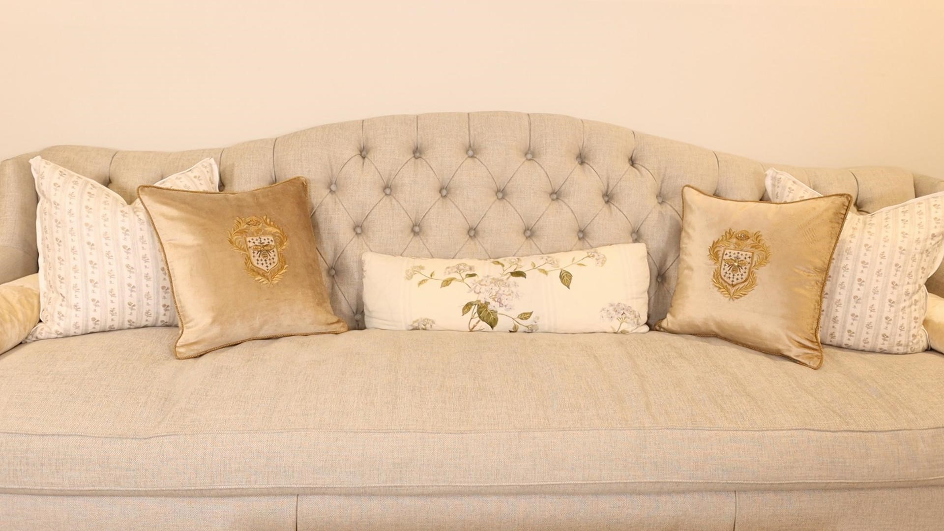 Add comfort and glam with luxurious french country decor embroidered velvet throw pillows.