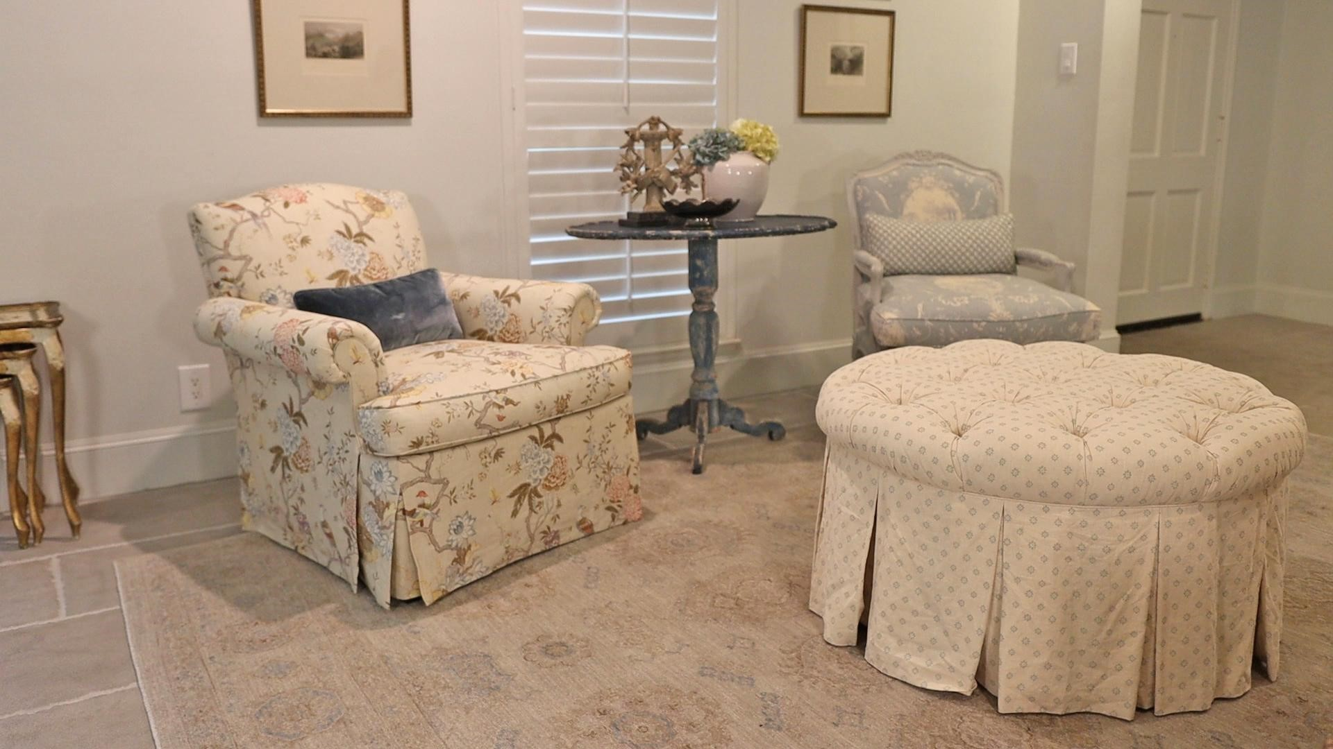 Amitha's living room showing how to mix patterns on her French country furniture to create a space that does not look overwhelming.