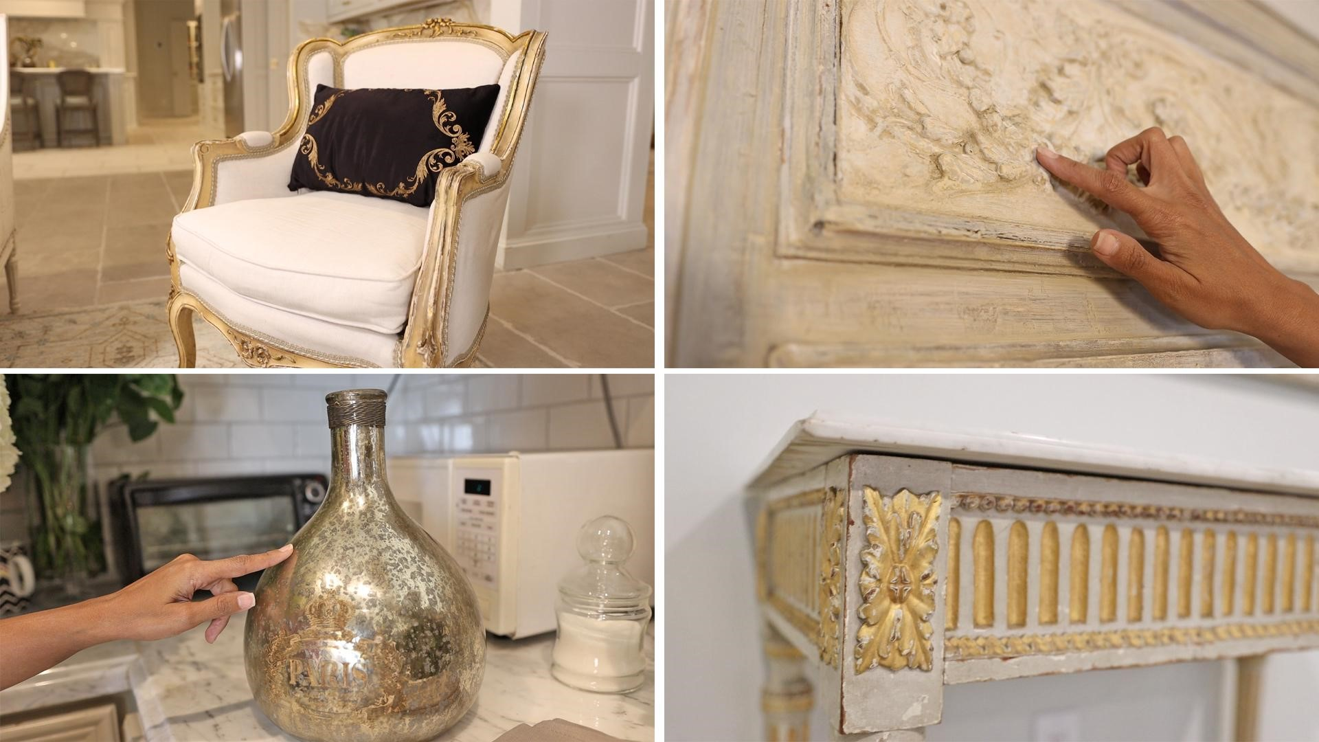 Look for gold detailing or warm finishes in your staple furniture and French country decor to make adding glam items more cohesive in your home.